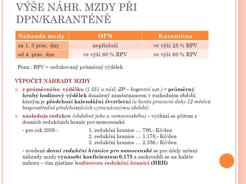 VÝŠE NÁHR. MZDY PŘI DPN/KARANTÉNĚ Pozn.: RPV = redukovaný průměrný výdělek VÝPOČET NÁHRADY MZDY z průměrného výdělku (§ 351 a násl. ZP – kogentní ust.