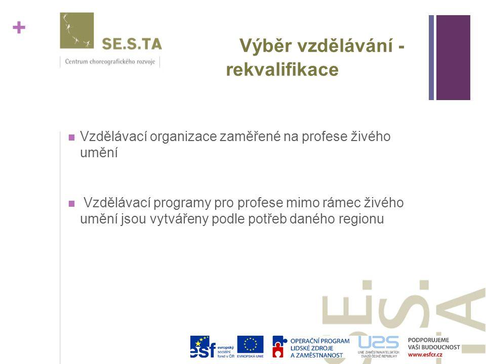 + Výběr vzdělávání - rekvalifikace Vzdělávací organizace zaměřené na profese živého umění Vzdělávací programy pro profese mimo rámec živého umění jsou vytvářeny podle potřeb daného regionu