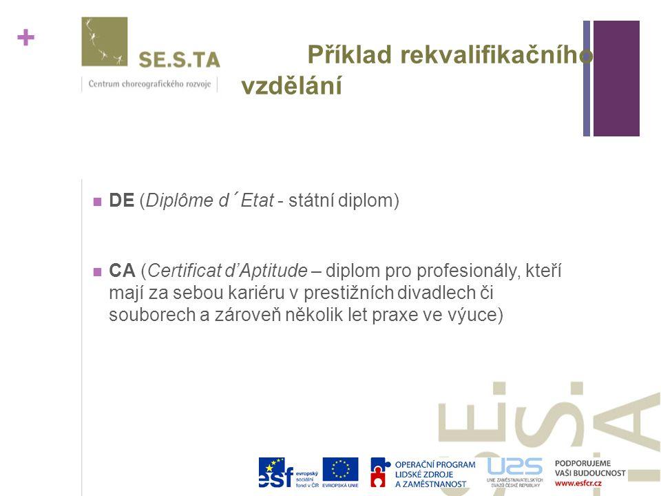 + Příklad rekvalifikačního vzdělání DE (Diplôme d´Etat - státní diplom) CA (Certificat d'Aptitude – diplom pro profesionály, kteří mají za sebou kariéru v prestižních divadlech či souborech a zároveň několik let praxe ve výuce)