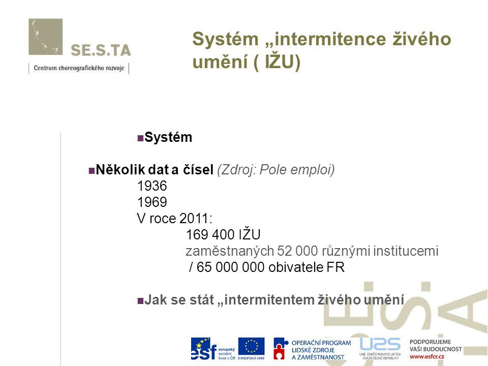 """Systém Několik dat a čísel (Zdroj: Pole emploi) 1936 1969 V roce 2011: 169 400 IŽU zaměstnaných 52 000 různými institucemi / 65 000 000 obivatele FR Jak se stát """"intermitentem živého umění Systém """"intermitence živého umění ( IŽU)"""