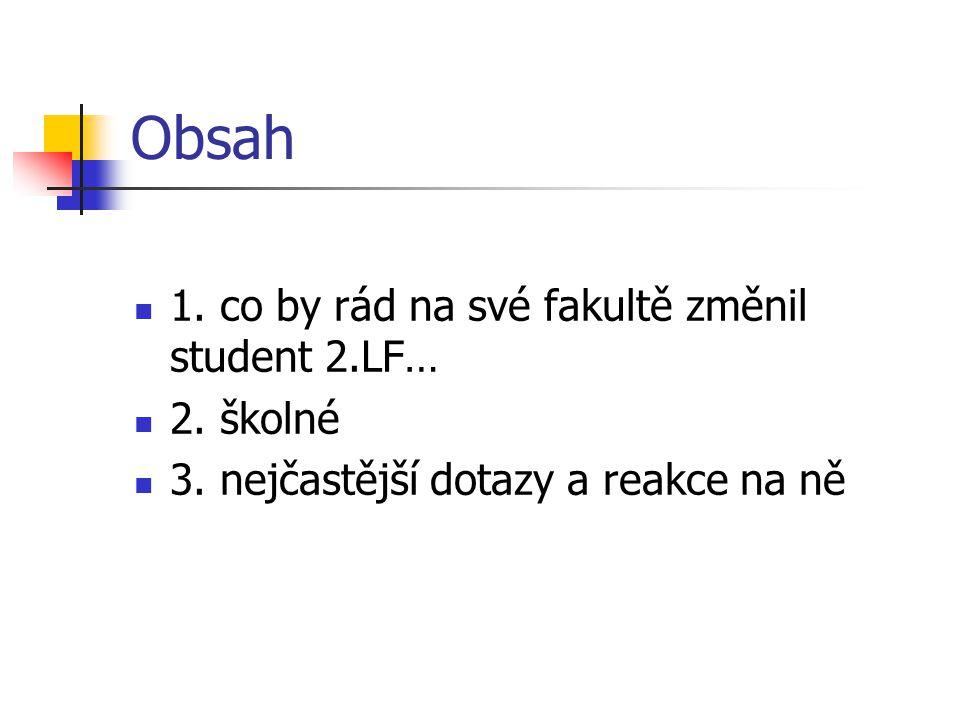 Obsah 1.co by rád na své fakultě změnil student 2.LF… 2.
