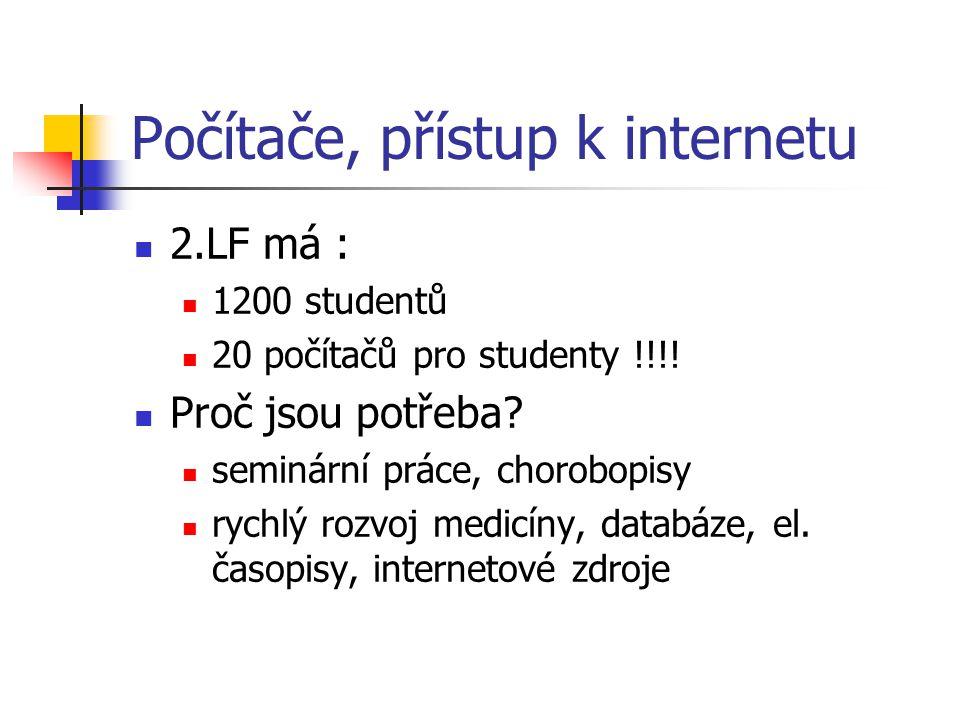 Počítače, přístup k internetu 2.LF má : 1200 studentů 20 počítačů pro studenty !!!.