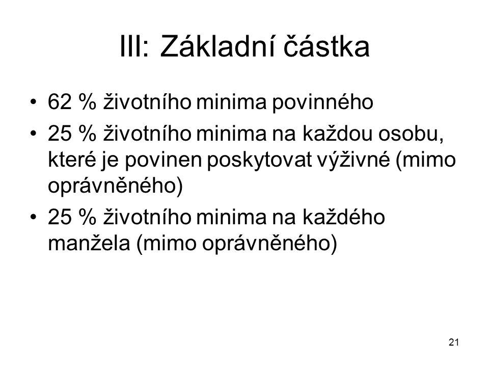 21 III: Základní částka 62 % životního minima povinného 25 % životního minima na každou osobu, které je povinen poskytovat výživné (mimo oprávněného)