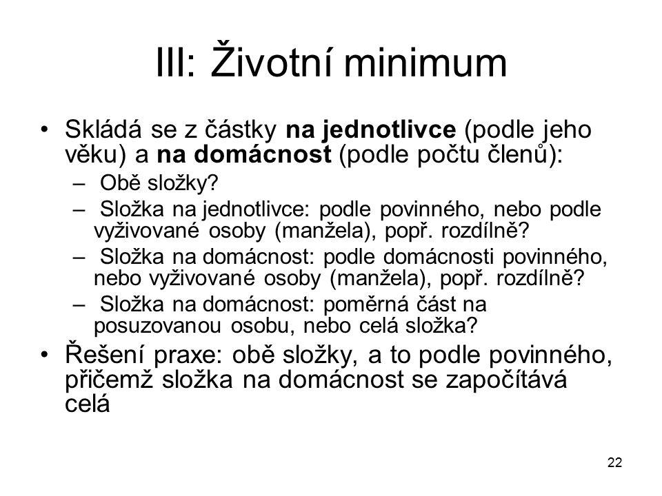 22 III: Životní minimum Skládá se z částky na jednotlivce (podle jeho věku) a na domácnost (podle počtu členů): – Obě složky.
