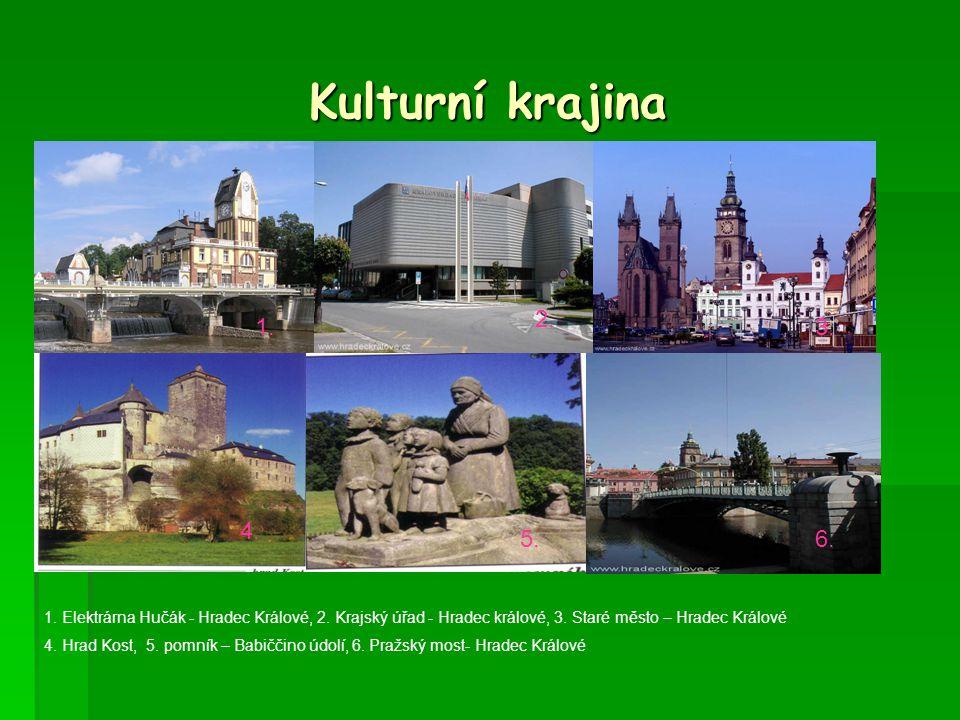 Kulturní krajina 1.2. 3. 4. 5.6. 1. Elektrárna Hučák - Hradec Králové, 2.