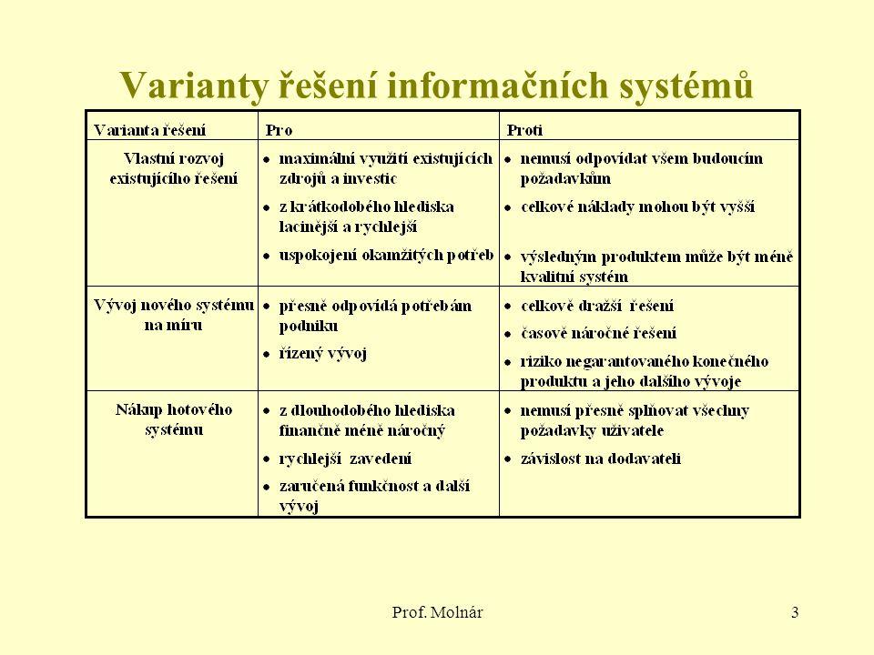Prof. Molnár3 Varianty řešení informačních systémů