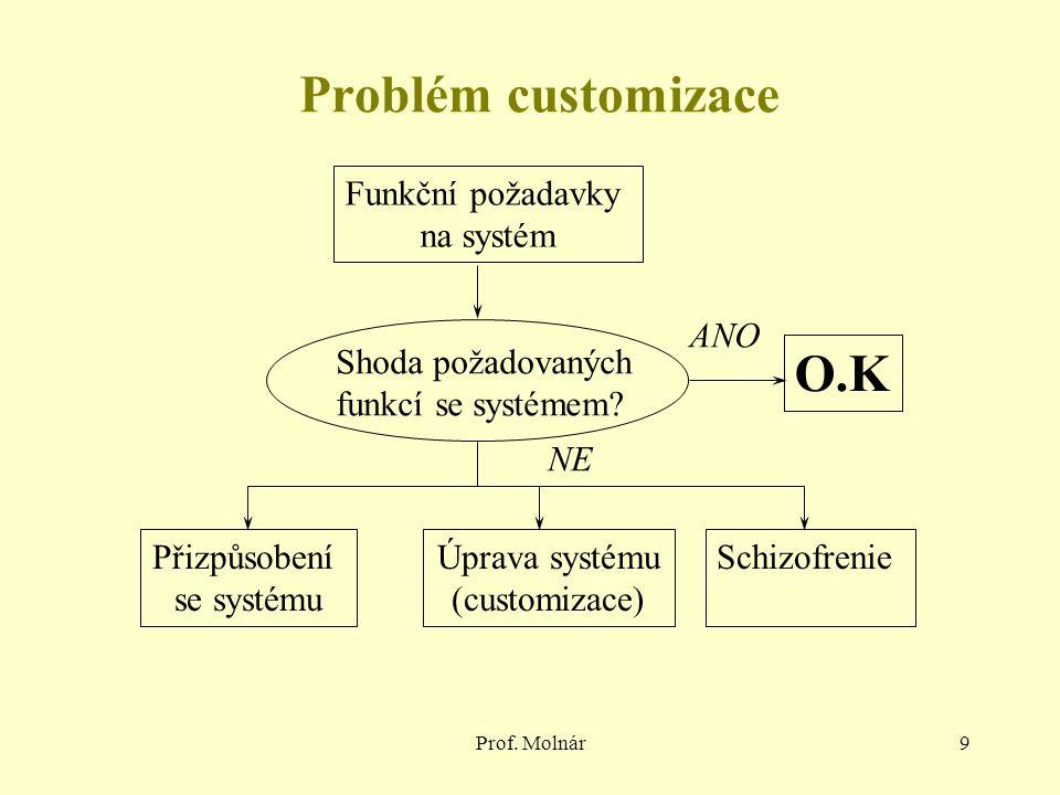 Prof. Molnár9 Funkční požadavky na systém Shoda požadovaných funkcí se systémem.