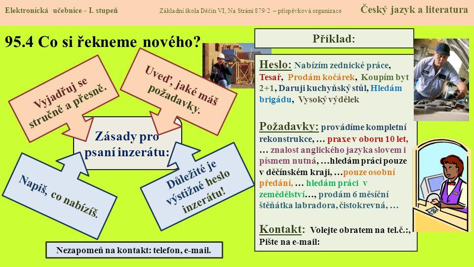 95.5 Procvičení a příklady Elektronická učebnice - I.