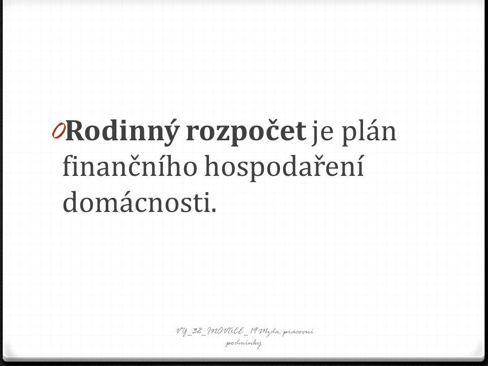 0 Rodinný rozpočet je plán finančního hospodaření domácnosti. VY_32_INOVACE_ 19 Mzda, pracovní podmínky