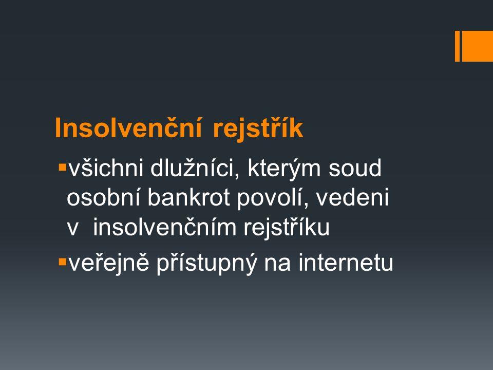 Insolvenční rejstřík  všichni dlužníci, kterým soud osobní bankrot povolí, vedeni v insolvenčním rejstříku  veřejně přístupný na internetu