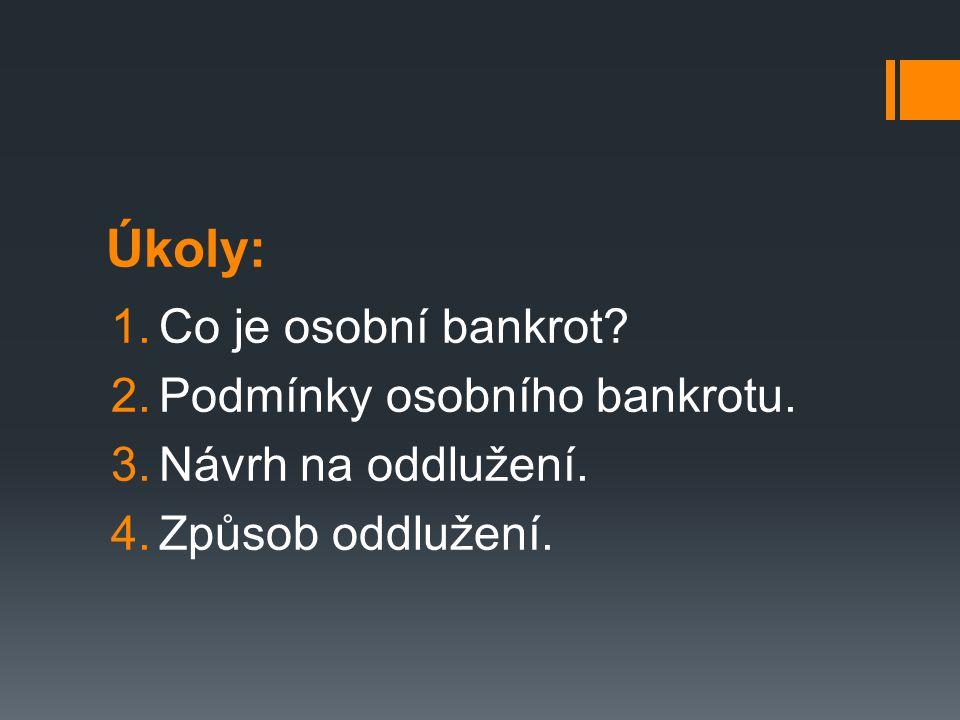 Úkoly: 1.Co je osobní bankrot. 2.Podmínky osobního bankrotu.