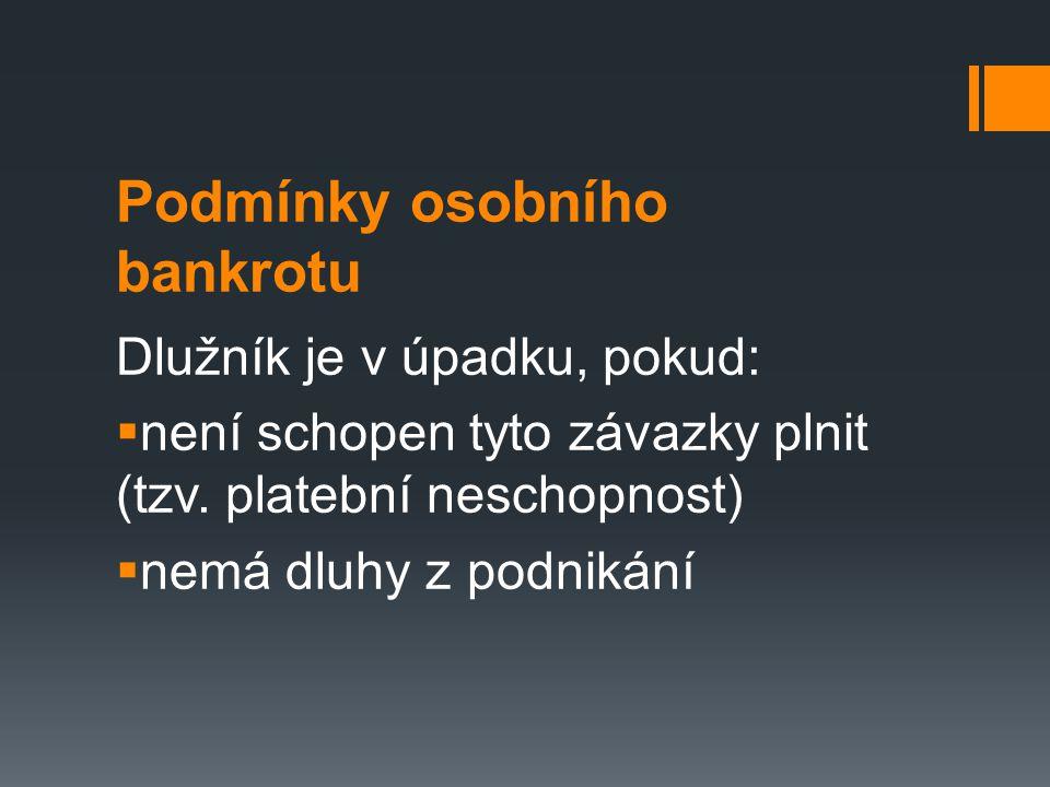 Podmínky osobního bankrotu Dlužník je v úpadku, pokud:  není schopen tyto závazky plnit (tzv.