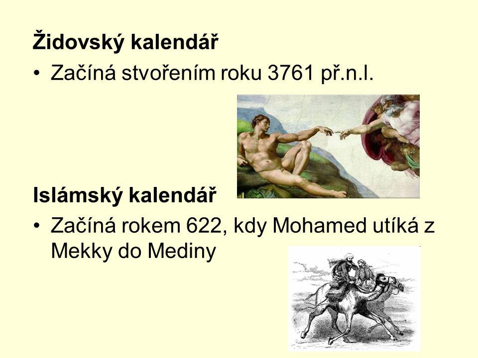 Židovský kalendář Začíná stvořením roku 3761 př.n.l.