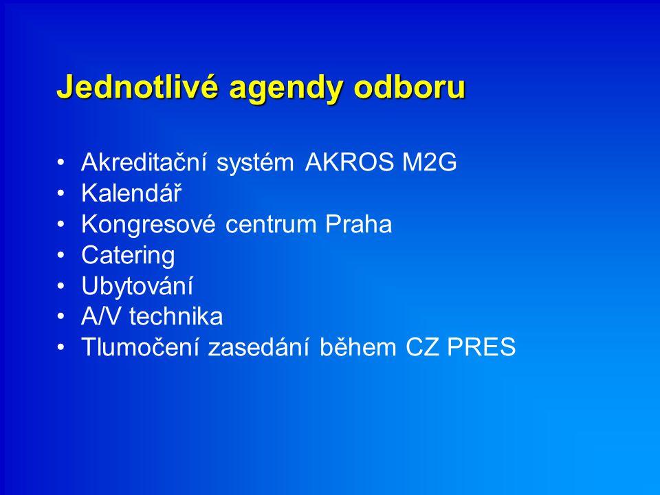 Jednotlivé agendy odboru Akreditační systém AKROS M2G Kalendář Kongresové centrum Praha Catering Ubytování A/V technika Tlumočení zasedání během CZ PRES