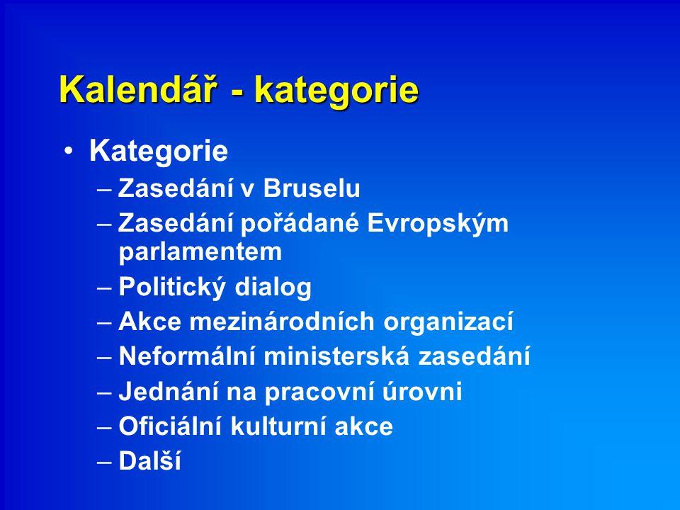 Kalendář - kategorie Kategorie –Zasedání v Bruselu –Zasedání pořádané Evropským parlamentem –Politický dialog –Akce mezinárodních organizací –Neformální ministerská zasedání –Jednání na pracovní úrovni –Oficiální kulturní akce –Další