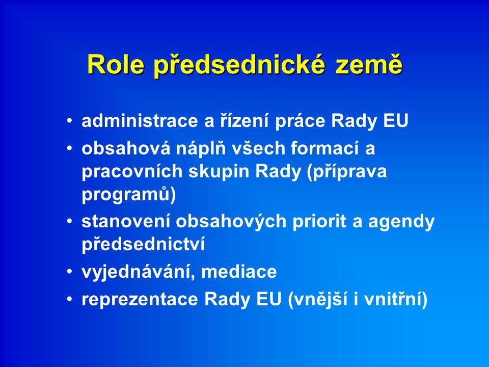 Role předsednické země administrace a řízení práce Rady EU obsahová náplň všech formací a pracovních skupin Rady (příprava programů) stanovení obsahových priorit a agendy předsednictví vyjednávání, mediace reprezentace Rady EU (vnější i vnitřní)