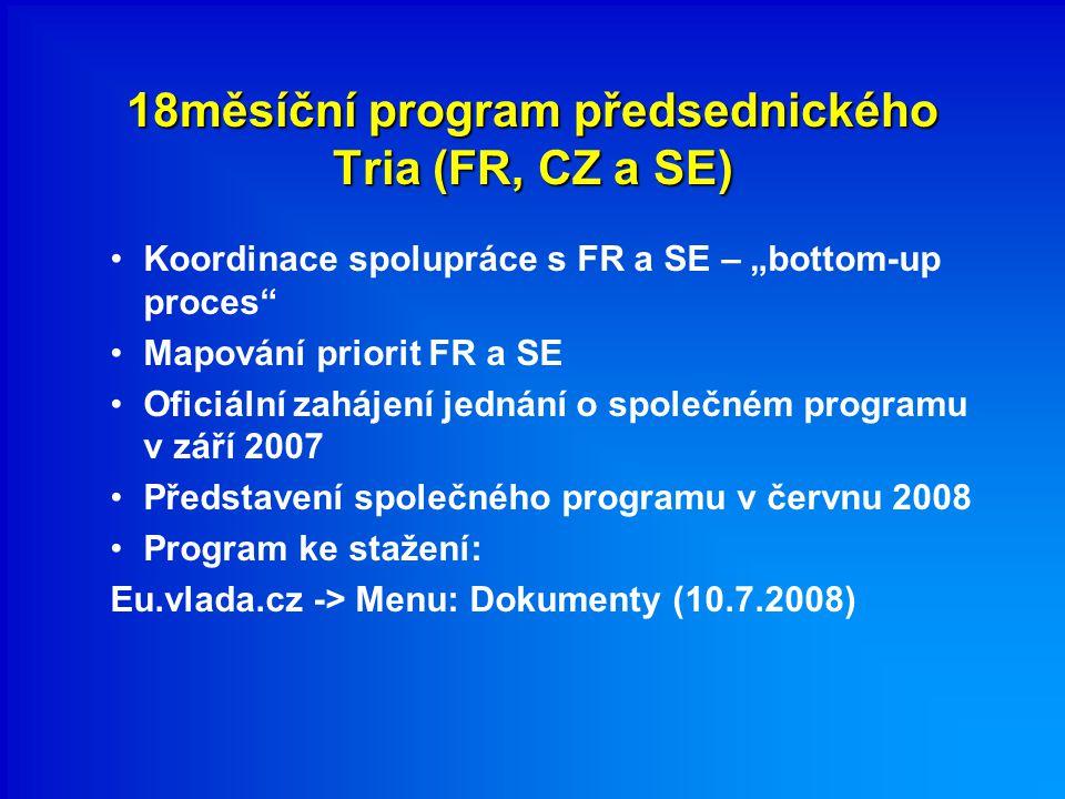 """18měsíční program předsednického Tria (FR, CZ a SE) Koordinace spolupráce s FR a SE – """"bottom-up proces Mapování priorit FR a SE Oficiální zahájení jednání o společném programu v září 2007 Představení společného programu v červnu 2008 Program ke stažení: Eu.vlada.cz -> Menu: Dokumenty (10.7.2008)"""