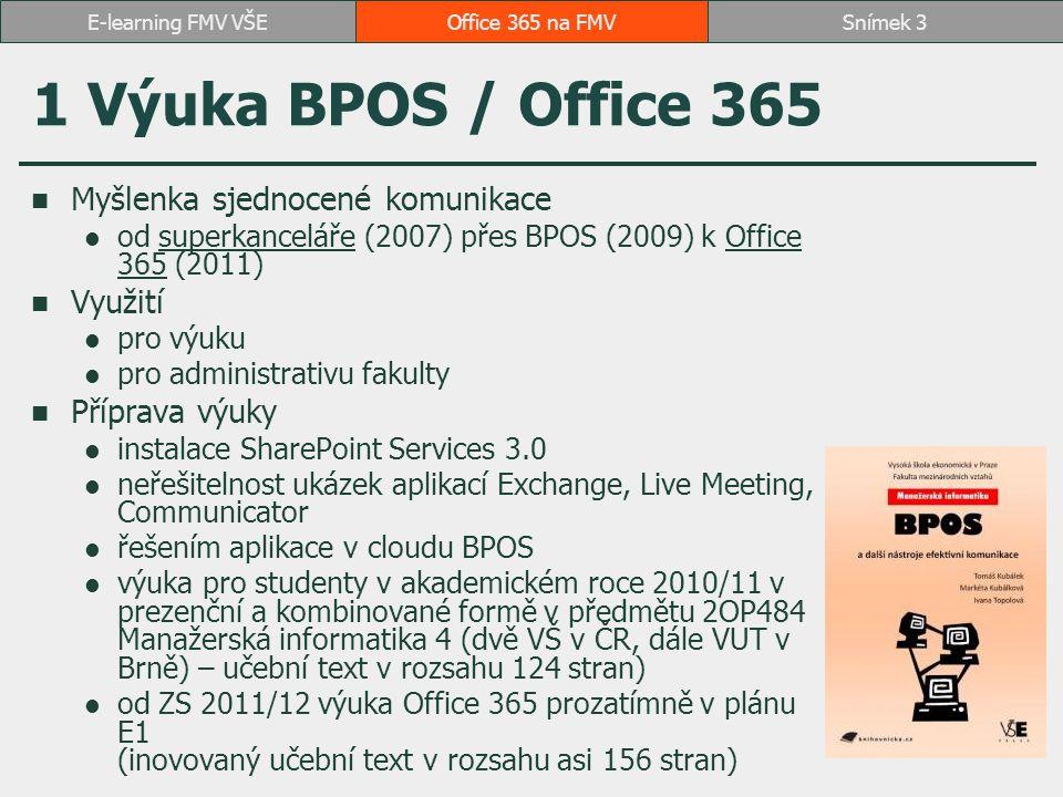 Současný stav výuky Office 365 v předmětu 2OP484 Manažerská informatika 4 (povinný předmět VS 2MI Informační a prezentační technologie v praxi)2OP484 Manažerská informatika 4VS 2MI Informační a prezentační technologie v praxi SharePoint: 18 vyučovacích hodin + 2 hodiny test Outlook: 2 vyučovací hodiny Lync: 2 vyučovací hodiny dále Microsoft CRM Dynamics: 12 vyučovacích hodin Adtraxion Manager: 4 vyučovací hodiny Zoner Photo Studio: 8 vyučovacích hodin 20 studentů za semestr (omezení počtem licencí a zájmem studentů) záznam výuky i obhajob seminárních prací Office 365 na FMVSnímek 4E-learning FMV VŠE