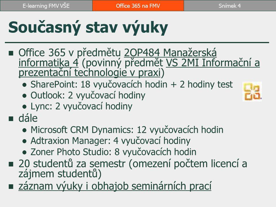 Současný stav výuky Office 365 v předmětu 2OP484 Manažerská informatika 4 (povinný předmět VS 2MI Informační a prezentační technologie v praxi)2OP484