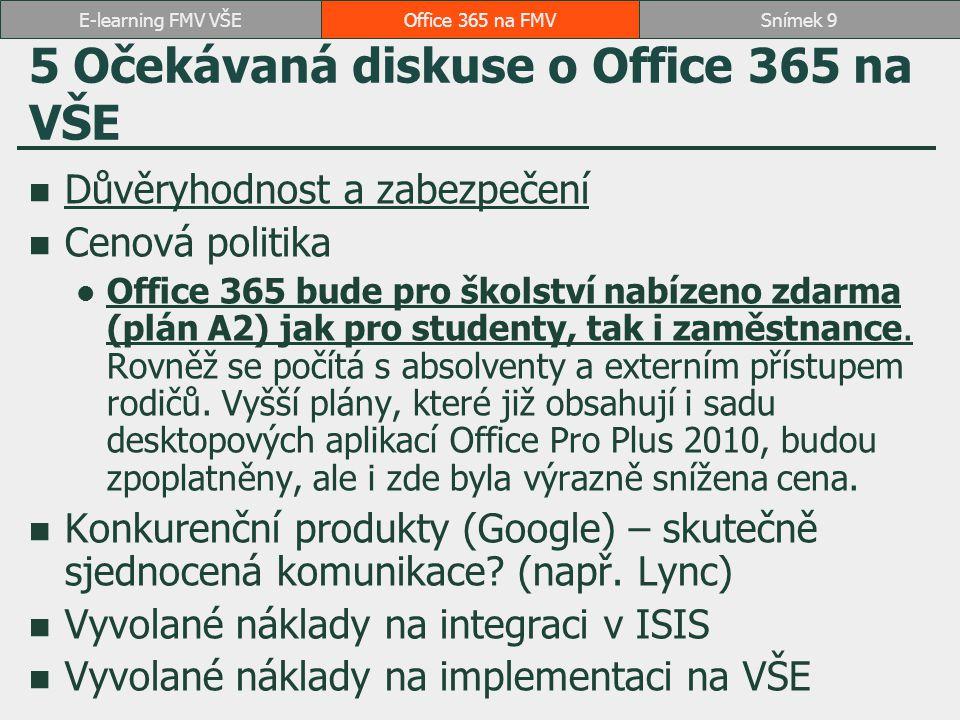 5 Očekávaná diskuse o Office 365 na VŠE Důvěryhodnost a zabezpečení Cenová politika Office 365 bude pro školství nabízeno zdarma (plán A2) jak pro stu