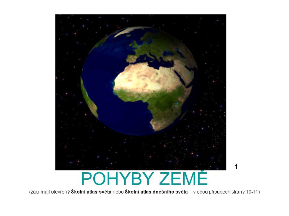 POHYBY ZEMĚ (žáci mají otevřený Školní atlas světa nebo Školní atlas dnešního světa – v obou případech strany 10-11) 1