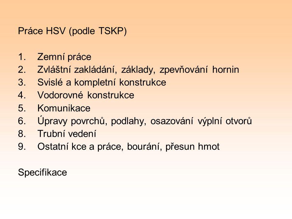 Práce HSV (podle TSKP) 1.Zemní práce 2.Zvláštní zakládání, základy, zpevňování hornin 3.Svislé a kompletní konstrukce 4.Vodorovné konstrukce 5.Komunik