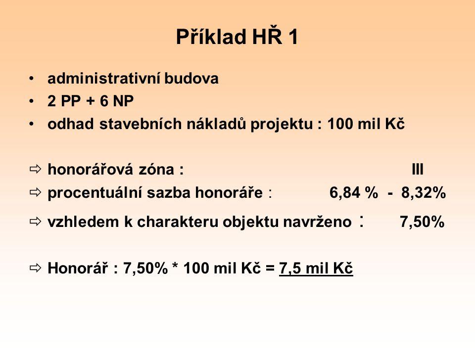 Příklad HŘ 1 administrativní budova 2 PP + 6 NP odhad stavebních nákladů projektu : 100 mil Kč  honorářová zóna : III  procentuální sazba honoráře :