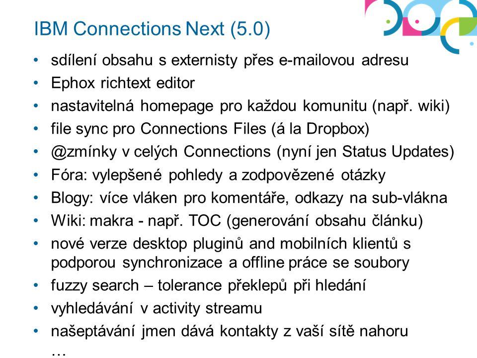sdílení obsahu s externisty přes e-mailovou adresu Ephox richtext editor nastavitelná homepage pro každou komunitu (např.
