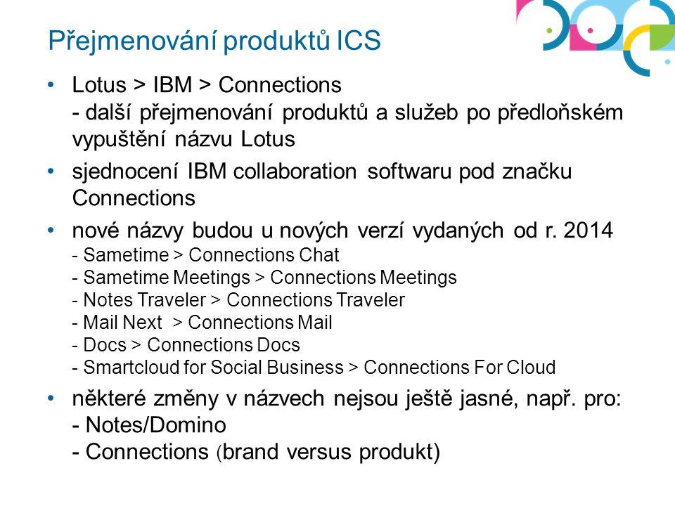 Přejmenování produktů ICS Lotus > IBM > Connections - další přejmenování produktů a služeb po předloňském vypuštění názvu Lotus sjednocení IBM collaboration softwaru pod značku Connections nové názvy budou u nových verzí vydaných od r.