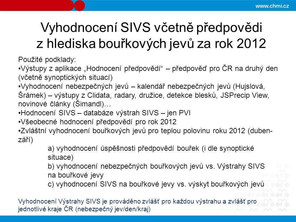 """Vyhodnocení SIVS včetně předpovědi z hlediska bouřkových jevů za rok 2012 Použité podklady: Výstupy z aplikace """"Hodnocení předpovědí"""" – předpověď pro"""