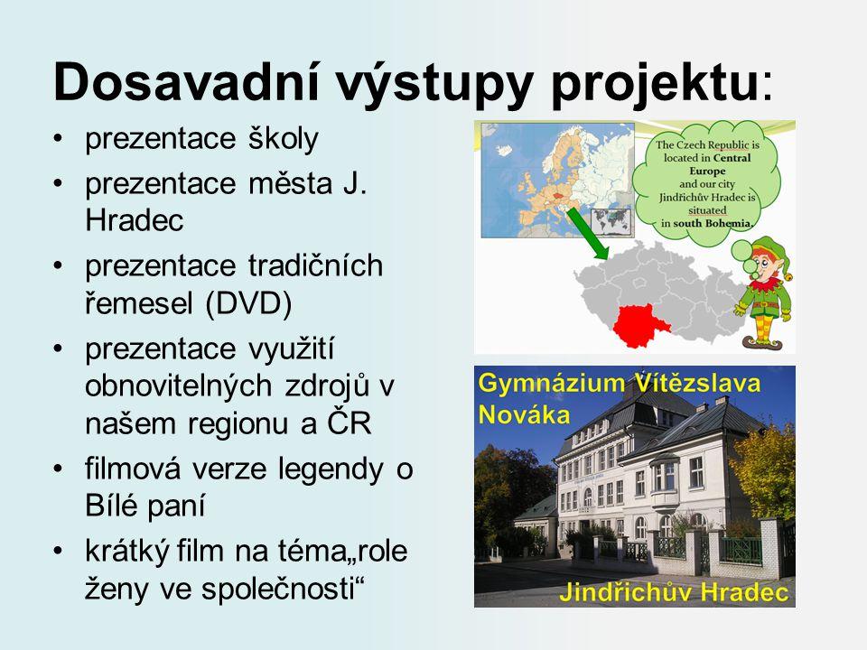 Dosavadní výstupy projektu: prezentace školy prezentace města J. Hradec prezentace tradičních řemesel (DVD) prezentace využití obnovitelných zdrojů v