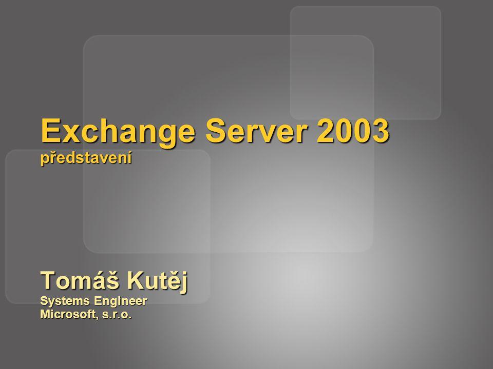 Exchange a Windows 2003 Server Exchange 5.5 Windows 2000 Exchange 2000 Windows 2000 Windows 2003 GC/DC Windows 2000 SP3 GC/DC Exchange 2003 Windows 2000 Exchange 2003 Windows 2003 Exchange 5.5 NT4 Všechny tyto servery mohou koexistovat ve stejné topologii.