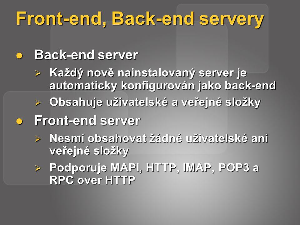 Front-end, Back-end servery Back-end server Back-end server  Každý nově nainstalovaný server je automaticky konfigurován jako back-end  Obsahuje uživatelské a veřejné složky Front-end server Front-end server  Nesmí obsahovat žádné uživatelské ani veřejné složky  Podporuje MAPI, HTTP, IMAP, POP3 a RPC over HTTP