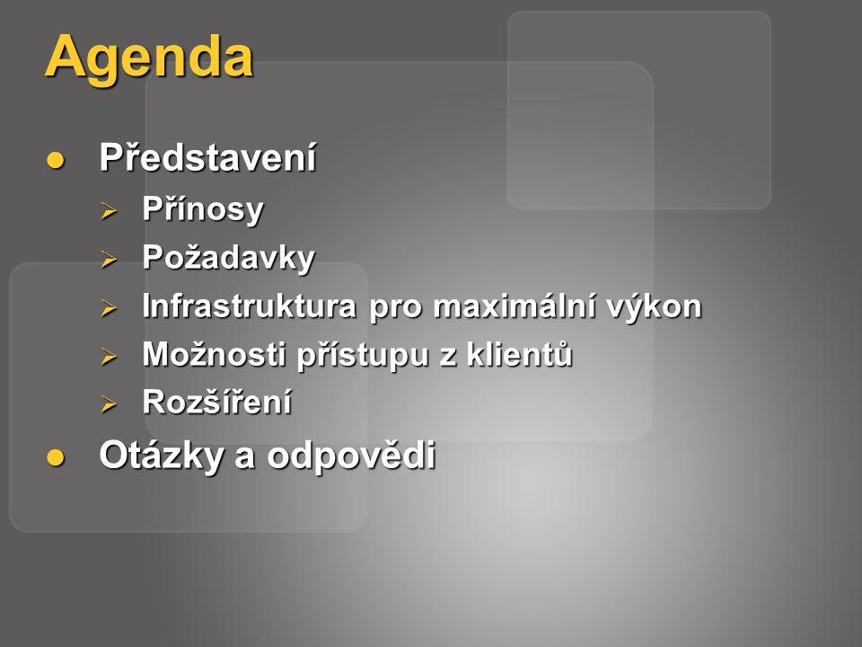 Agenda Představení Představení  Přínosy  Požadavky  Infrastruktura pro maximální výkon  Možnosti přístupu z klientů  Rozšíření Otázky a odpovědi Otázky a odpovědi