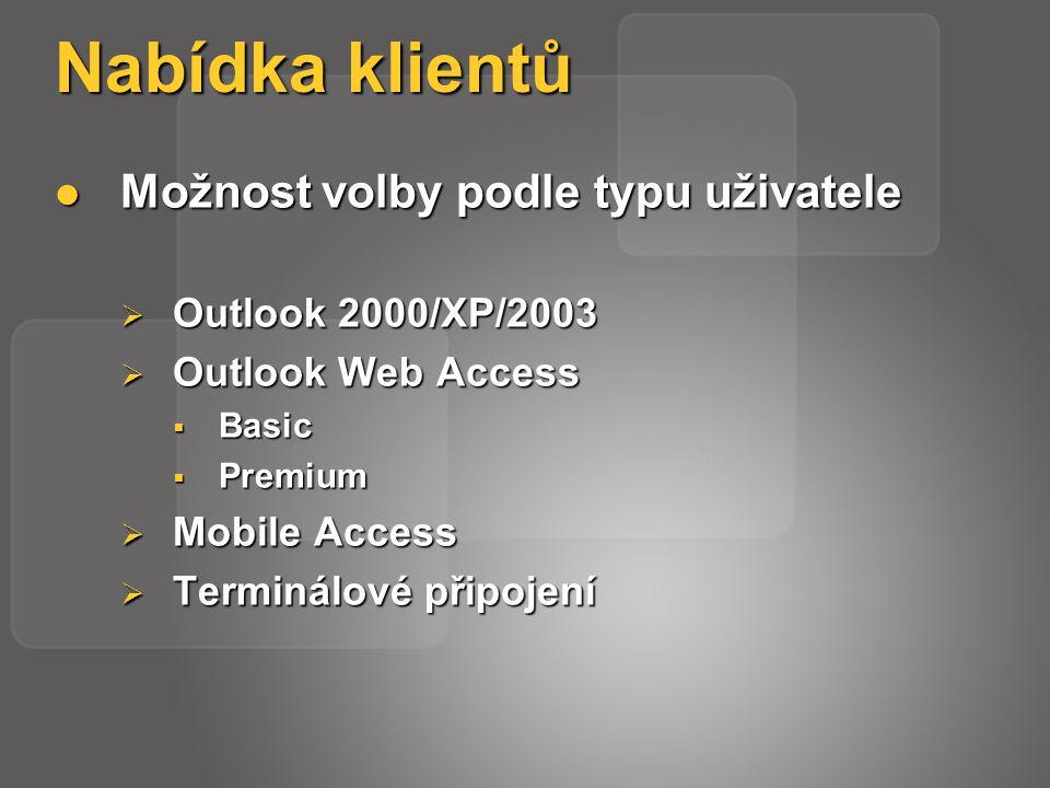 Nabídka klientů Možnost volby podle typu uživatele Možnost volby podle typu uživatele  Outlook 2000/XP/2003  Outlook Web Access  Basic  Premium  Mobile Access  Terminálové připojení