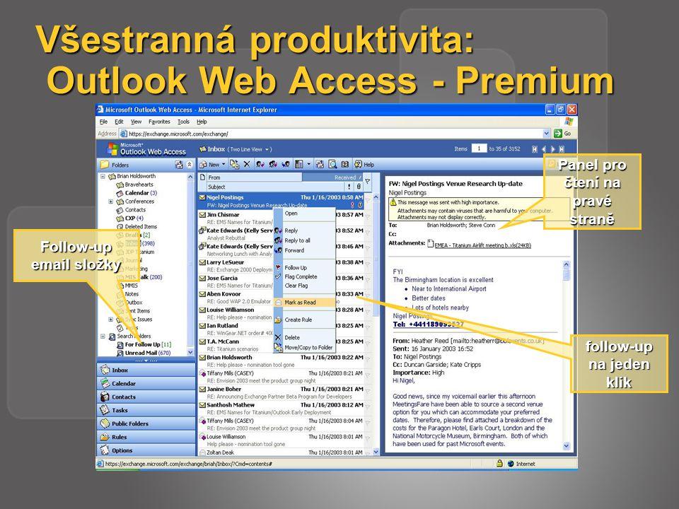 Všestranná produktivita: Outlook Web Access - Premium Panel pro čtení na pravé straně follow-up na jeden klik Follow-up email složky