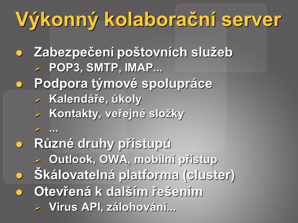 Výkonný kolaborační server Zabezpečení poštovních služeb Zabezpečení poštovních služeb  POP3, SMTP, IMAP...