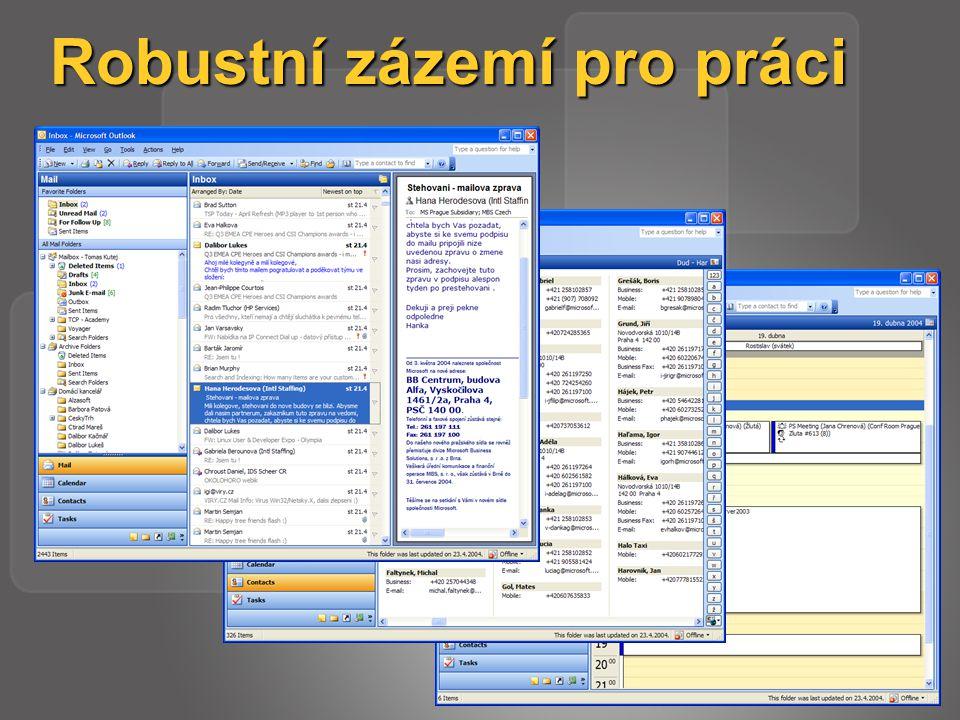 Outlook 2003 – ověření protokolem Kerberos Outlook 2003 – Exchange 2003 Server Outlook 2003 – Exchange 2003 Server Delegování Kerberos mezi FE a BE servery Delegování Kerberos mezi FE a BE servery Možnost ověření Kerberos mezi lesy s řadiči domény Windows 2003 Možnost ověření Kerberos mezi lesy s řadiči domény Windows 2003