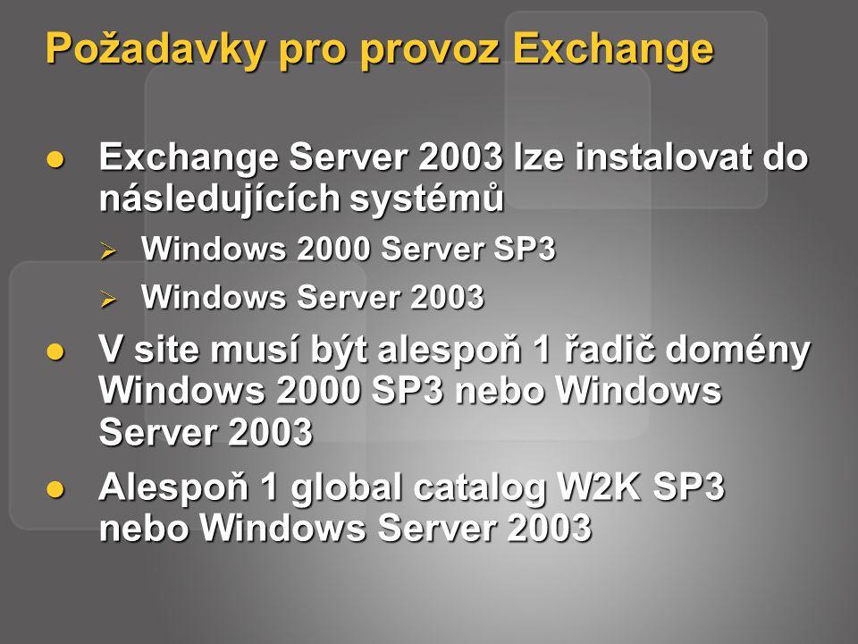 Požadavky pro provoz Exchange Exchange Server 2003 lze instalovat do následujících systémů Exchange Server 2003 lze instalovat do následujících systémů  Windows 2000 Server SP3  Windows Server 2003 V site musí být alespoň 1 řadič domény Windows 2000 SP3 nebo Windows Server 2003 V site musí být alespoň 1 řadič domény Windows 2000 SP3 nebo Windows Server 2003 Alespoň 1 global catalog W2K SP3 nebo Windows Server 2003 Alespoň 1 global catalog W2K SP3 nebo Windows Server 2003