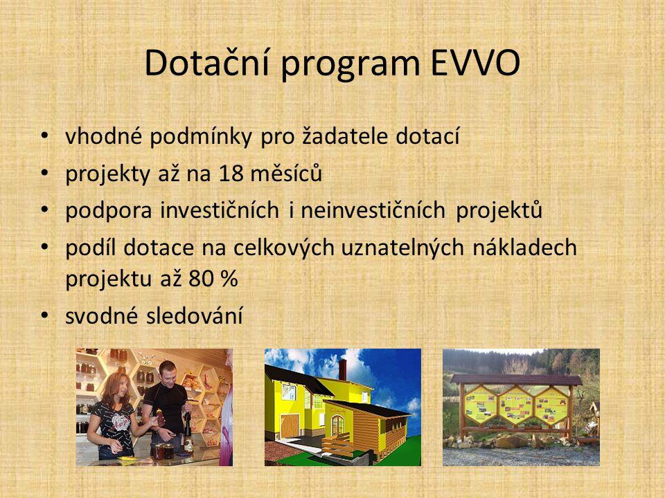 Dotační program EVVO vhodné podmínky pro žadatele dotací projekty až na 18 měsíců podpora investičních i neinvestičních projektů podíl dotace na celkových uznatelných nákladech projektu až 80 % svodné sledování