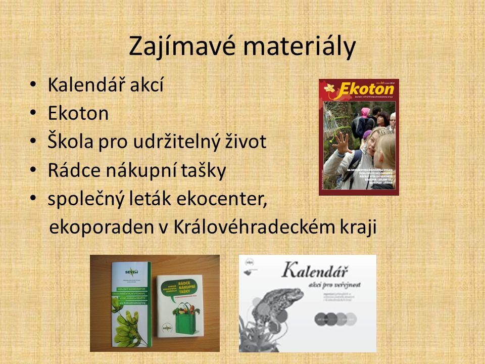 Zajímavé materiály Kalendář akcí Ekoton Škola pro udržitelný život Rádce nákupní tašky společný leták ekocenter, ekoporaden v Královéhradeckém kraji