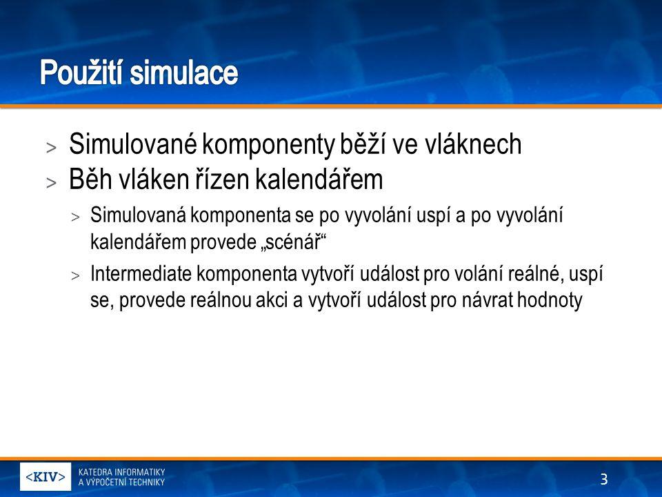 > Simulace komponent > Pro urychlení výpočtu (komprese) > Potenciálně automaticky generovatelné > Pro interakci s okolím > Simulace vstupu od uživatele > Simulace síťových a dalších rozhraní která nejsou během testování k dispozici > Vyžaduje tvorbu netriviálních scénářů > Problém při složitějších zapojeních > Vyžaduje splnění behaviorálního modelu 4