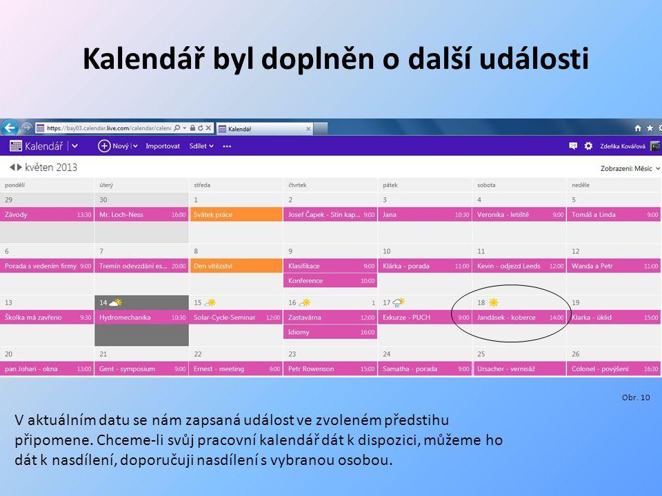 Kalendář byl doplněn o další události Obr.