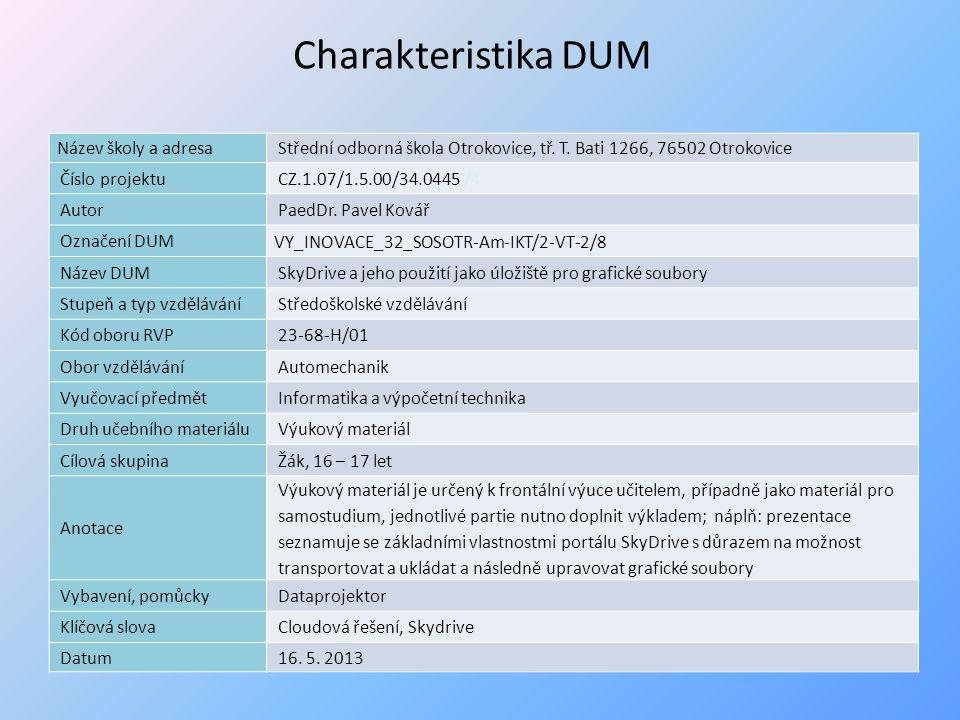 Obr. 32 Výběr cílové složky na webovém portálu SkyDrive