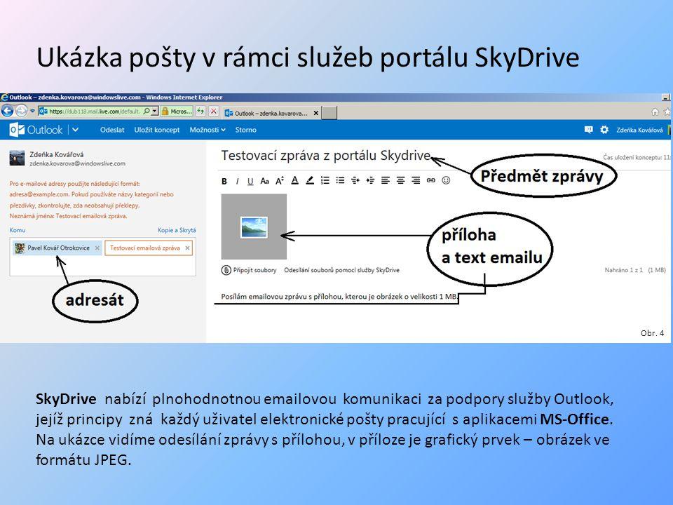 Příjem předchozí emailové zprávy adresátem Vzhled Outlooku na portále SkyDrive v okamžiku přijetí nové emailové zprávy Obr.