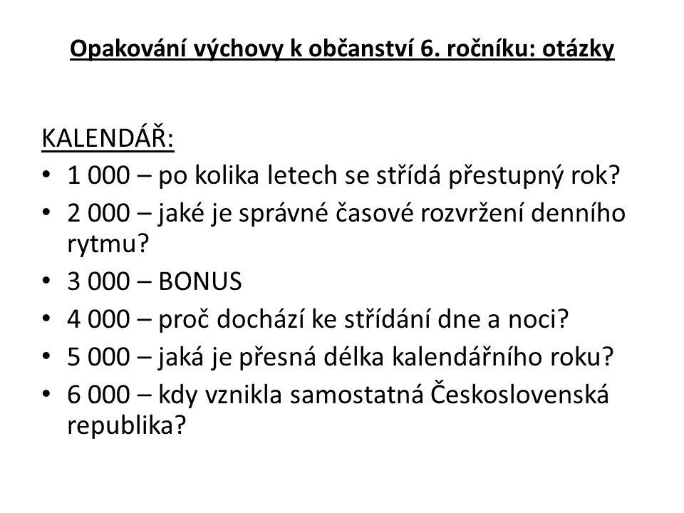 RODINA: 1 000 – vyjmenuj 3 funkce rodiny 2 000 – kdo nemůže uzavřít v ČR manželství.