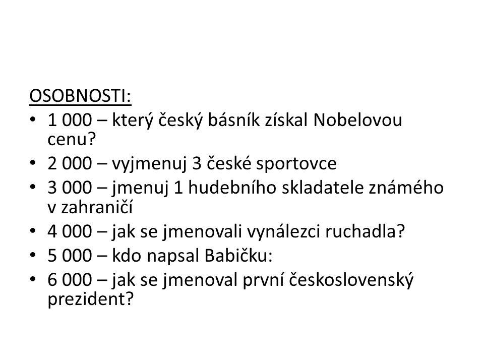 OSOBNOSTI: 1 000 – který český básník získal Nobelovou cenu.
