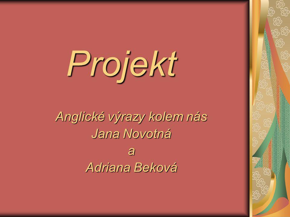 Projekt Anglické výrazy kolem nás Jana Novotná a Adriana Beková