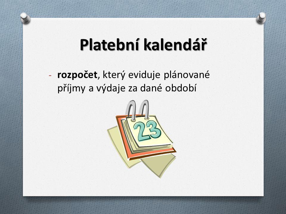 Platební kalendář - rozpočet, který eviduje plánované příjmy a výdaje za dané období