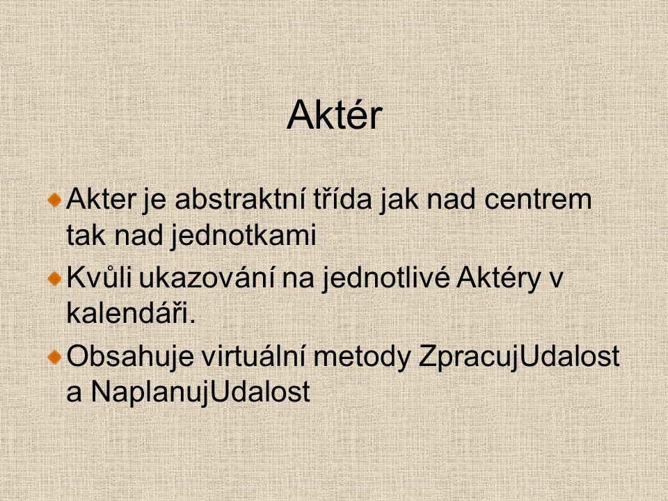Aktér Akter je abstraktní třída jak nad centrem tak nad jednotkami Kvůli ukazování na jednotlivé Aktéry v kalendáři.
